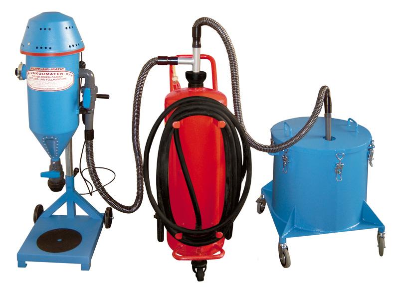 Tolva de polvo FLIPP AIR MATIC con depósito - Máquinas para recarga y trasvase de extintores - Máquinas de CO2 - Secados - Pistola para la presurización con nitrógeno
