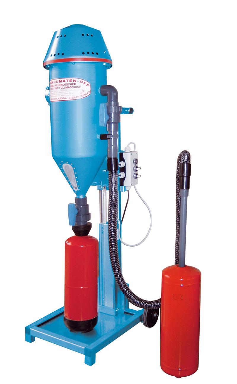 Tolva de polvo PFF-FLIPP-AIR-MATIC-E - Taller de recarga de extintores - Tolvas de polvo - Carga de CO2 - Prueba hidráulica de extintores de alta y baja