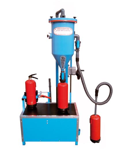 Tolva de polvo PFF-SUMATIC-SWZ - Taller de recarga de extintores - Tolvas de polvo - Carga de CO2 - Retimbrado, prueba hidráulica alta y baja presión