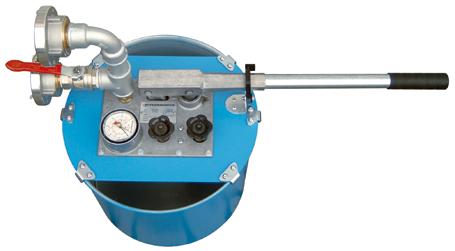 Hochdruck-Behälterprüfanlage, Handschlauchprüfpumpe HSP-100 - FRITZ EMDE - Fabrikation von Maschinen und Vakuumanlagen